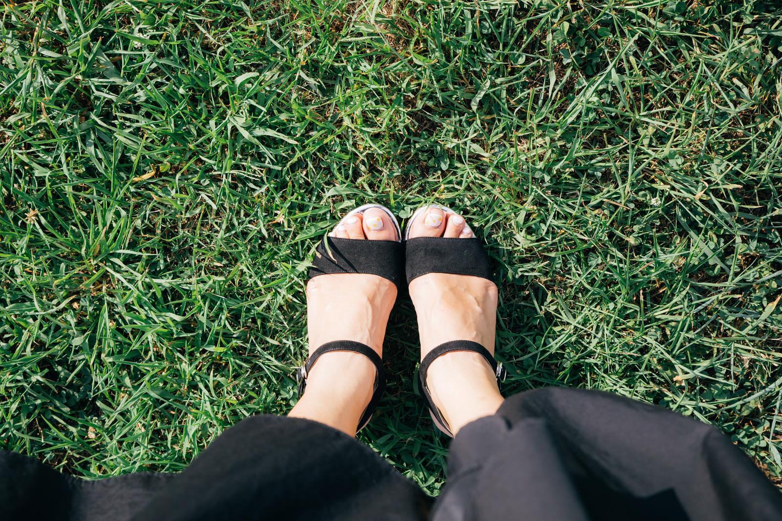 「芝生と女性の足元芝生と女性の足元」のフリー写真素材を拡大