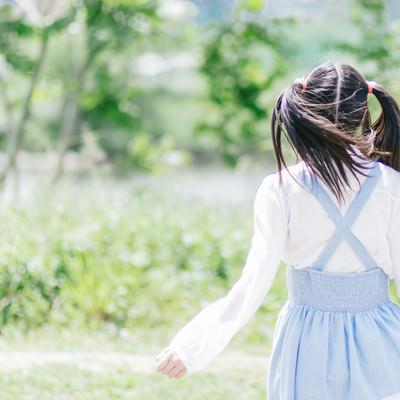 「ツインテール女子の後ろ姿」の写真素材