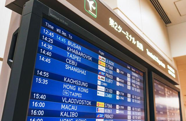 国際便第2ターミナルの電光掲示板の写真