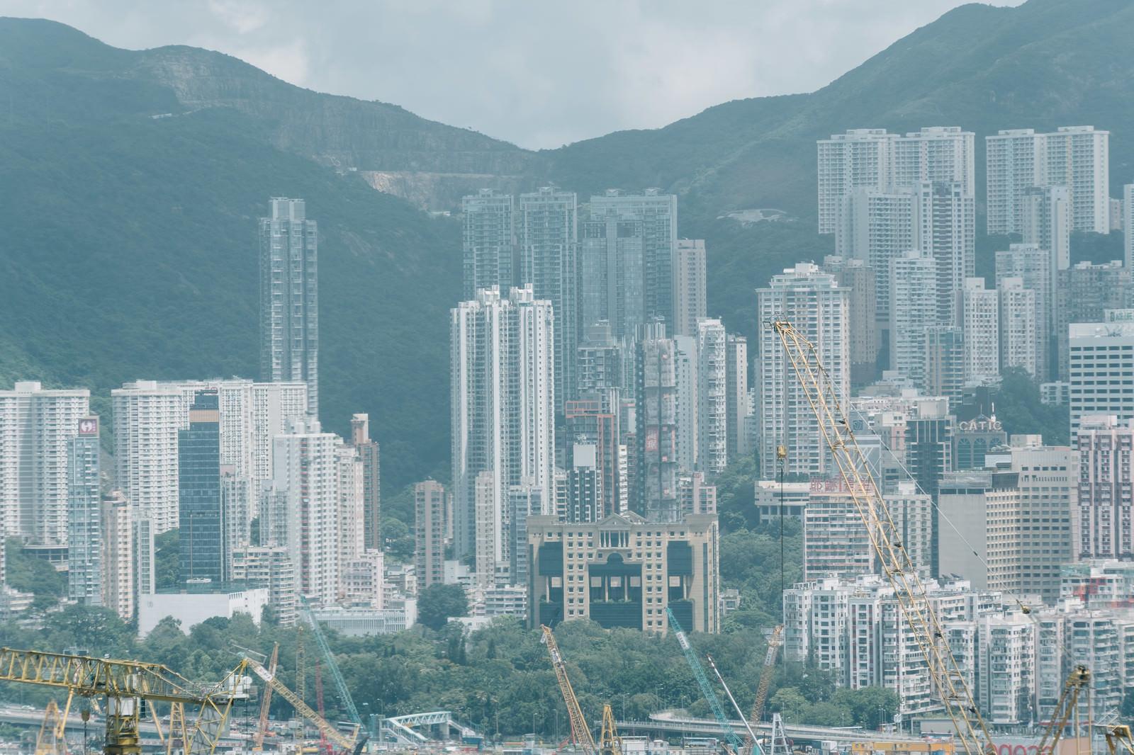 「建設中のビル群(香港)」の写真