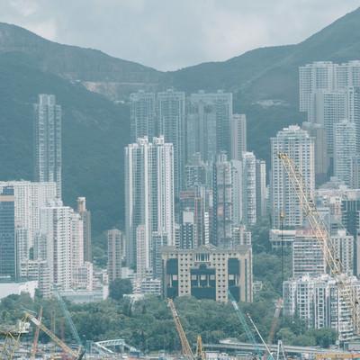 「建設中のビル群(香港)」の写真素材