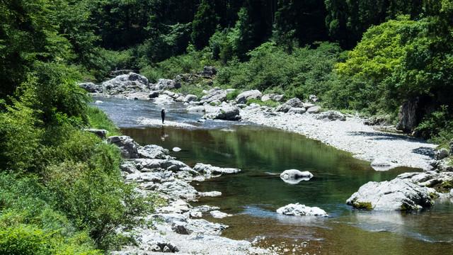 板取川と釣り人の写真