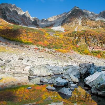 「色づく涸沢カールの紅葉」の写真素材
