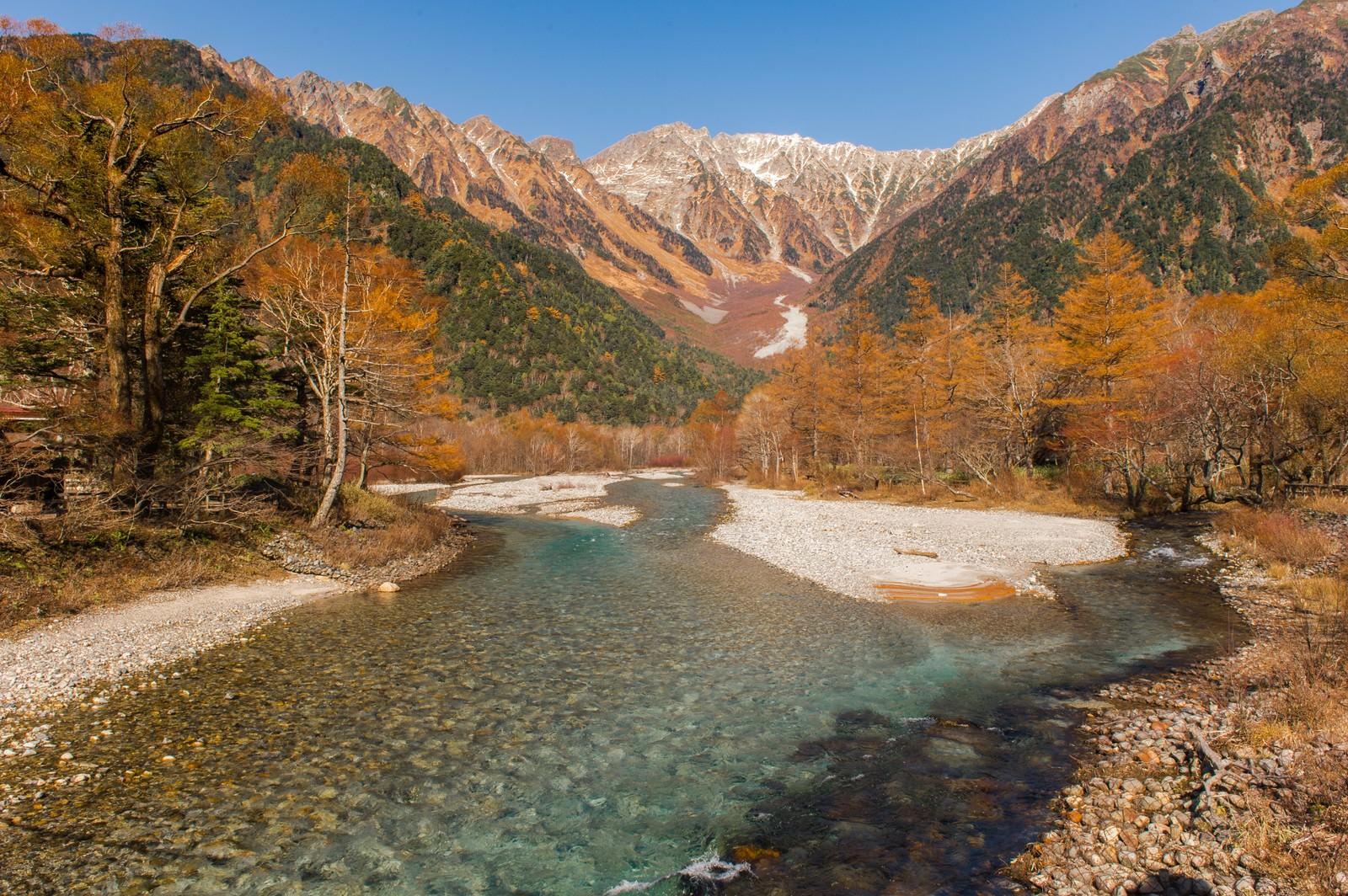 「秋の上高地・梓川と穂高連峰」の写真