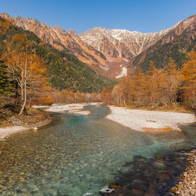 「秋の上高地・梓川と穂高連峰」の写真素材