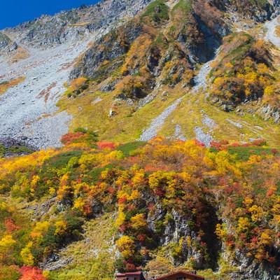 「紅葉の涸沢カールと涸沢小屋」の写真素材