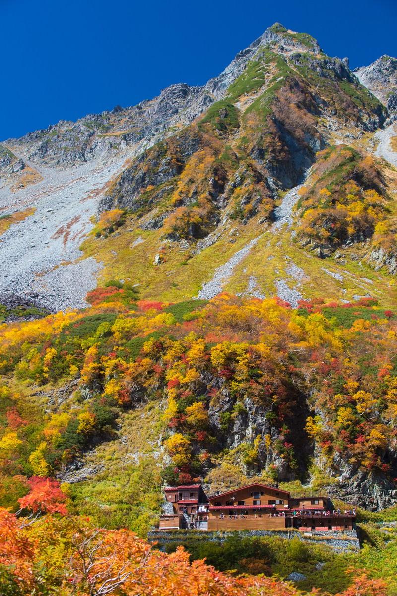 「紅葉の涸沢カールと涸沢小屋」の写真