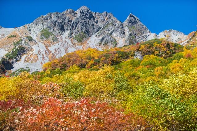紅葉に彩られた涸沢の先にあるザイテングラードと穂高の写真