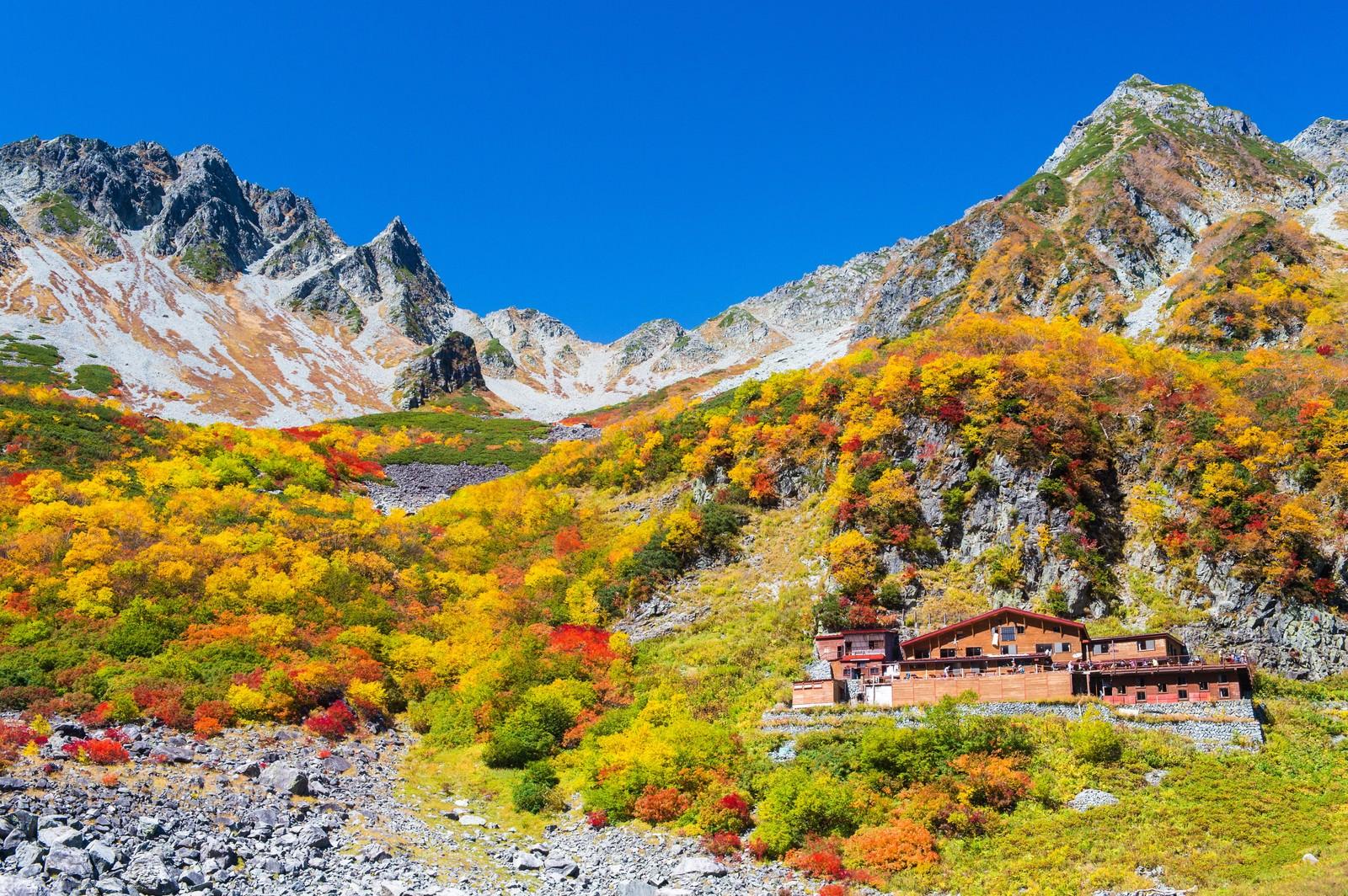 「紅葉シーズンの涸沢カールと涸沢小屋」の写真