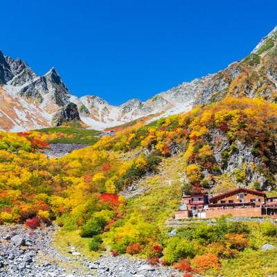 「紅葉シーズンの涸沢カールと涸沢小屋」の写真素材