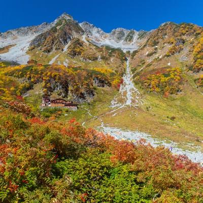 「紅葉ピークの涸沢小屋と北穂高岳」の写真素材