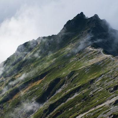 「雲海の中に隠れる夏の西鎌尾根」の写真素材