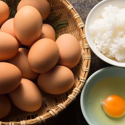 「朝から腹一体食べたい大食漢には「栄太郎」の卵かけご飯(TKG)」の写真素材
