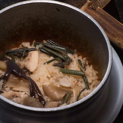 「奥飛騨の料理宿「栄太郎」自慢の山菜釜飯」の写真素材