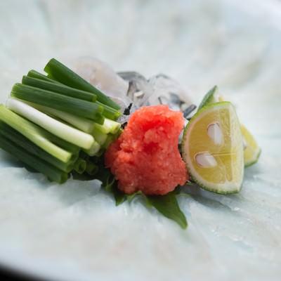 「皿が透き通るほどの薄さ。栄太郎の飛騨ふぐのテッサ」の写真素材