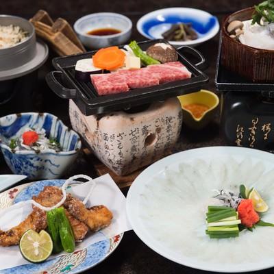 「飛騨ふぐと飛騨牛の贅の極み(料理宿栄太郎)」の写真素材