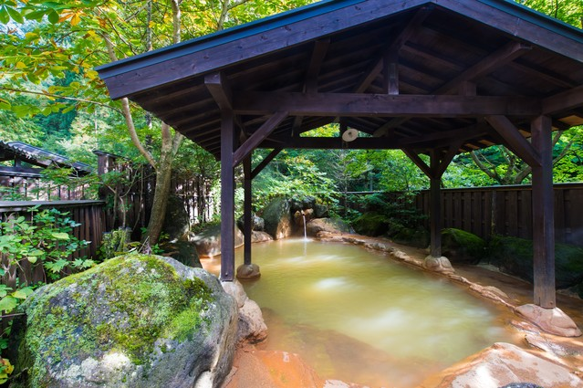 限りなく天然に近い「平湯民俗館」の源泉かけ流し露天風呂の写真