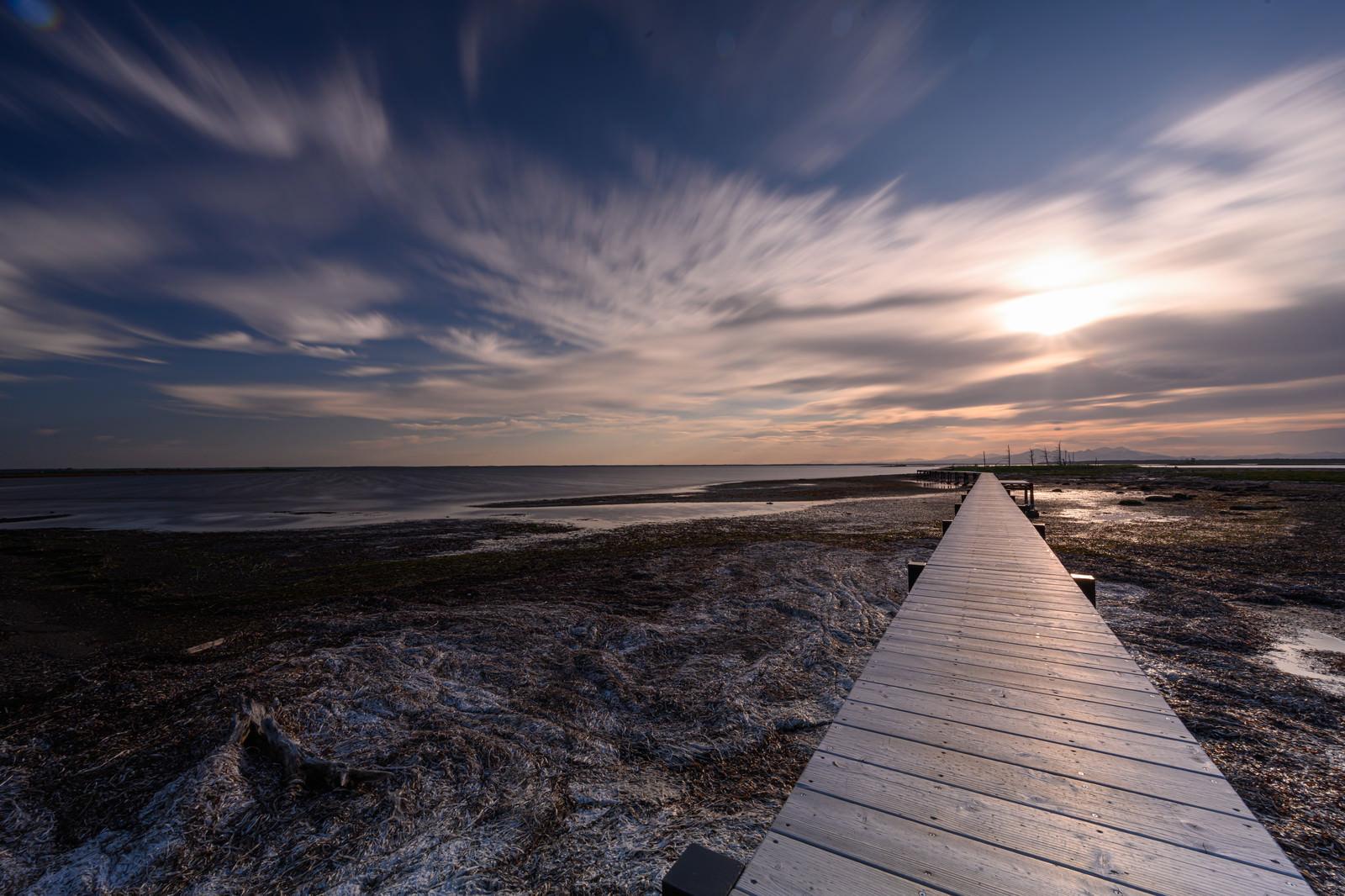 「野付半島の桟橋」の写真