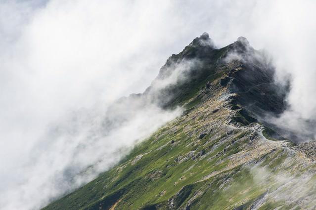 槍ヶ岳から見下ろす双六岳へと至る新緑の季節の西鎌尾根の写真