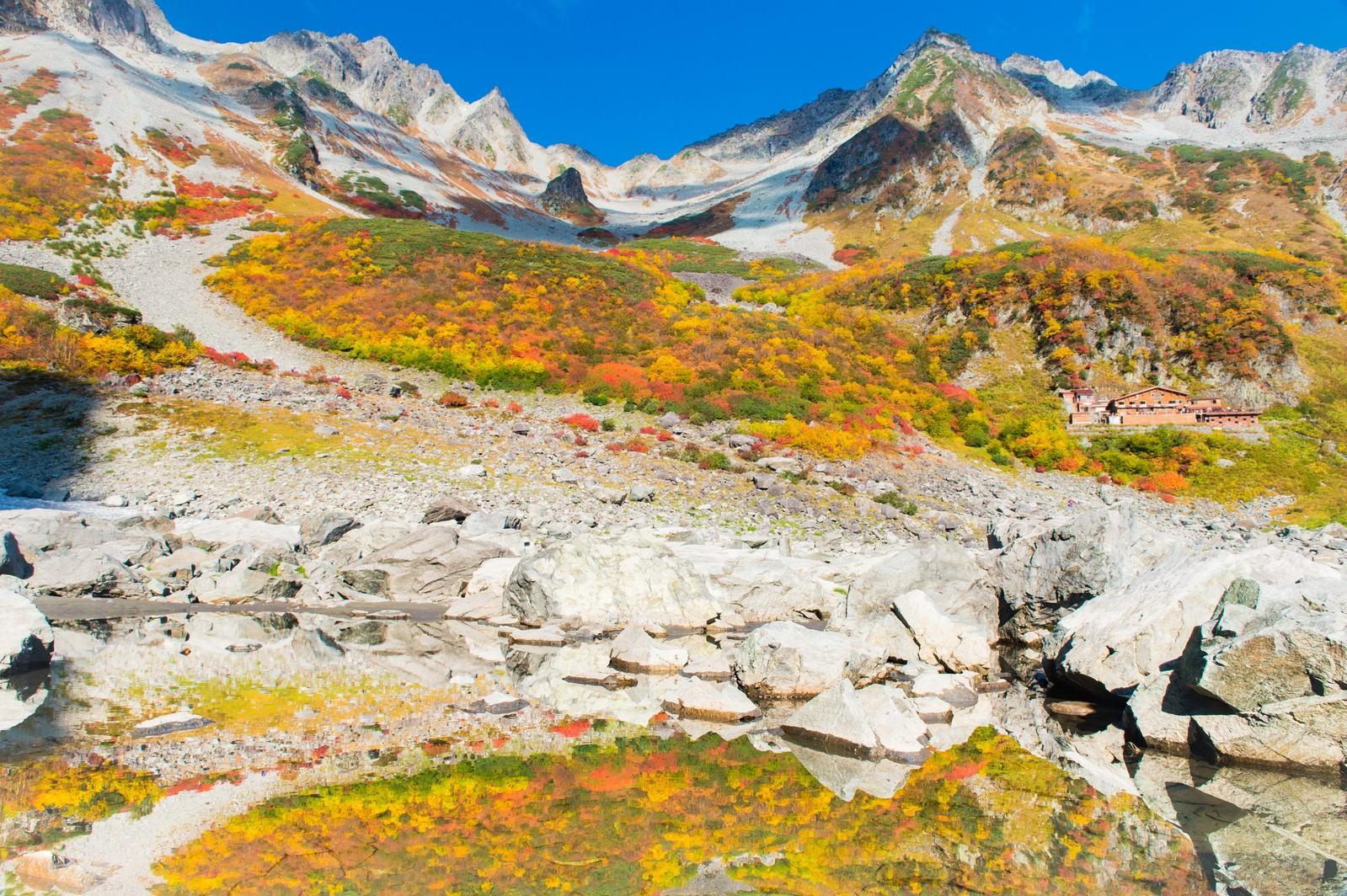 「紅葉シーズンの涸沢カール」の写真