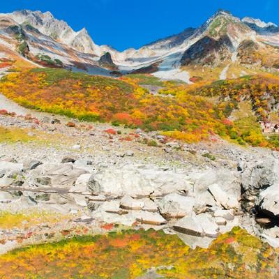 「紅葉シーズンの涸沢カール」の写真素材