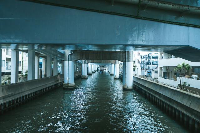 高架下の道頓堀川の写真