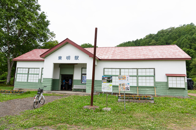 美唄鉄道東明駅舎の写真