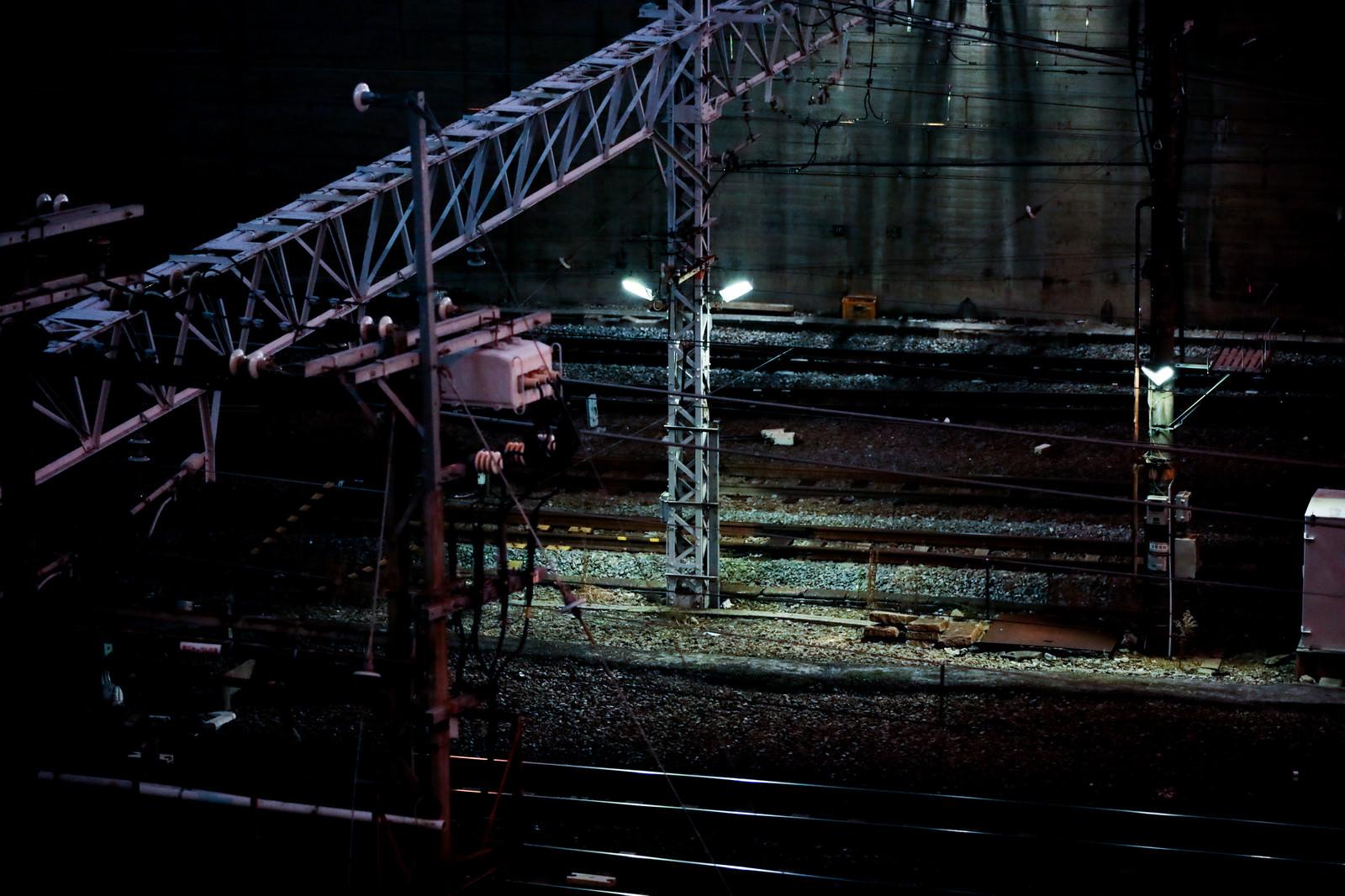 「不気味な夜の線路」の写真