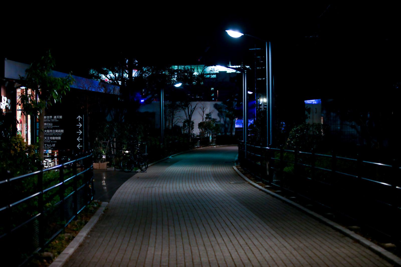 「深夜の歩道」の写真