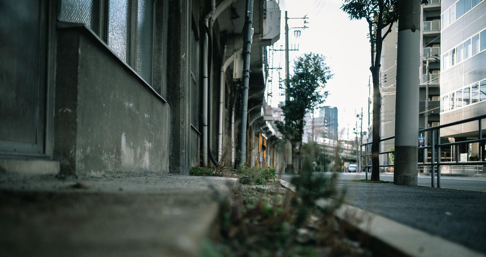 「高架下の店舗と歩道」の写真