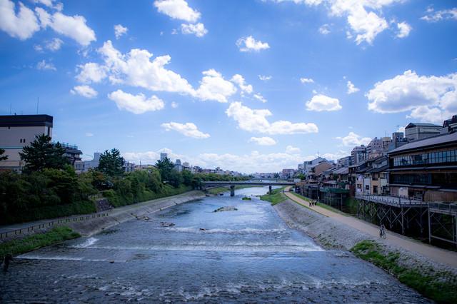 どこまでも続く青空と鴨川(京都府)の写真