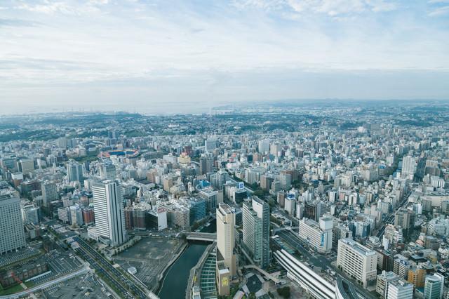 「ランドマークタワーからの景観(横浜関内方面)」のフリー写真素材