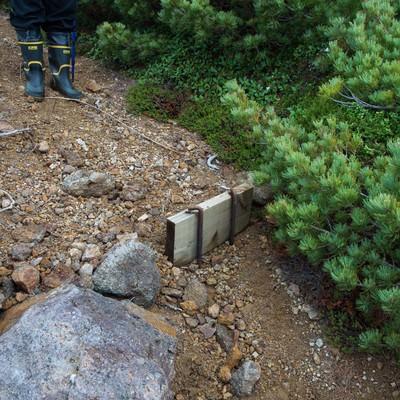 木材のみへ作り直しが必要な登山道の階段の写真