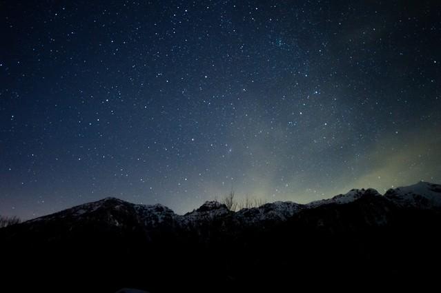 北アルプス大橋からの夜空の写真