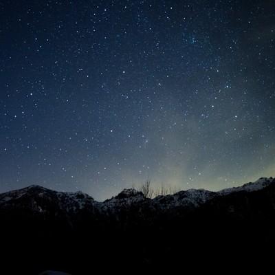 「北アルプス大橋からの夜空」の写真素材
