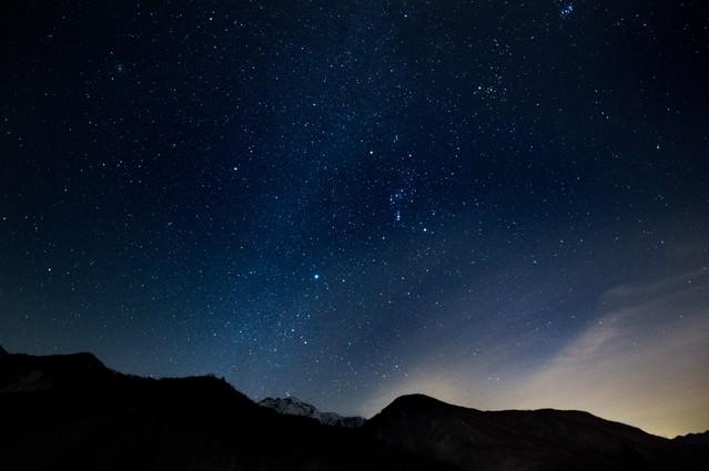 星空がキレイな北アルプスの写真