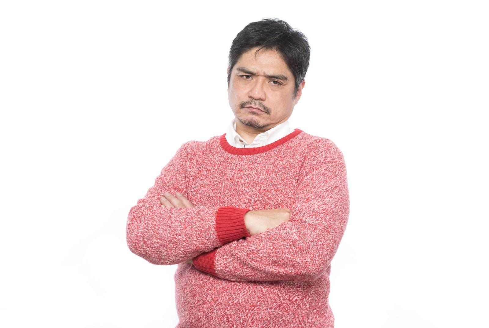 「ご機嫌斜めのお父さん」の写真[モデル:よたか]