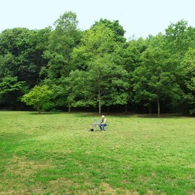 「森林公園でノマドなう」の写真素材