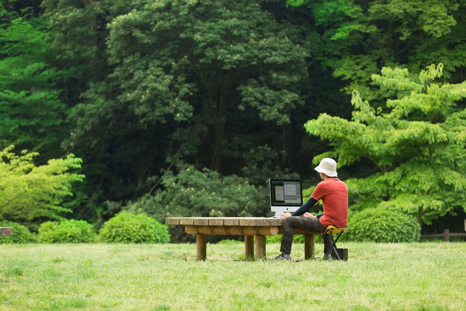 「大自然のなかでコーディングしているWebデザイナー」の写真