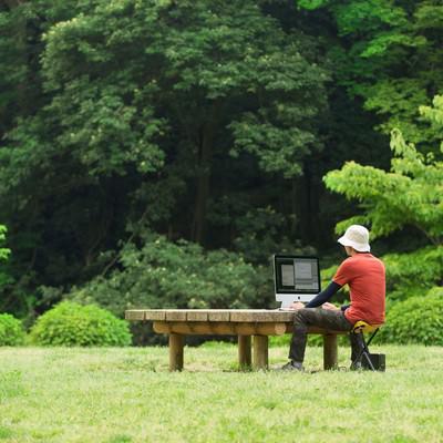 「大自然のなかでコーディングしているWebデザイナー」の写真素材
