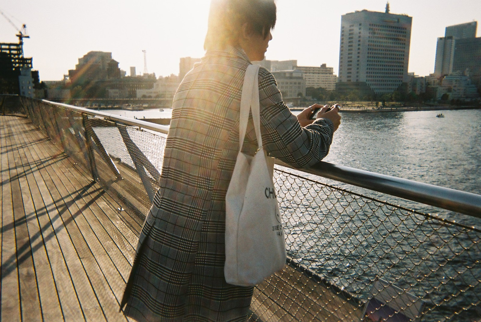 「大さん橋で待ち合わせする男性の後ろ姿」の写真