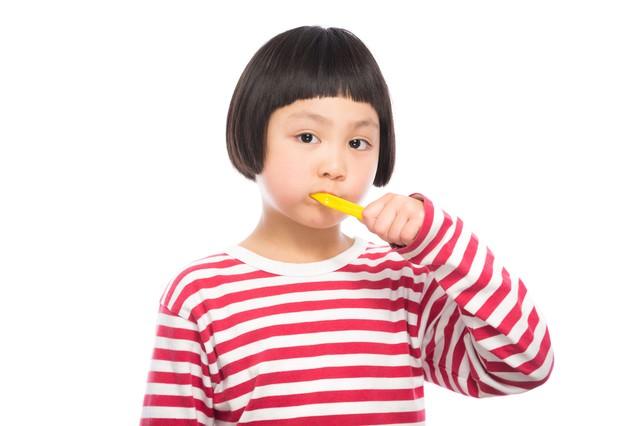 歯磨きの練習をする女の子の写真