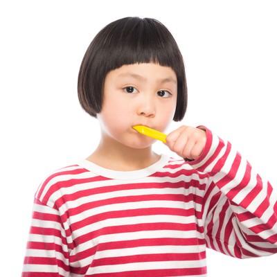 「歯磨きの練習をする女の子」の写真素材