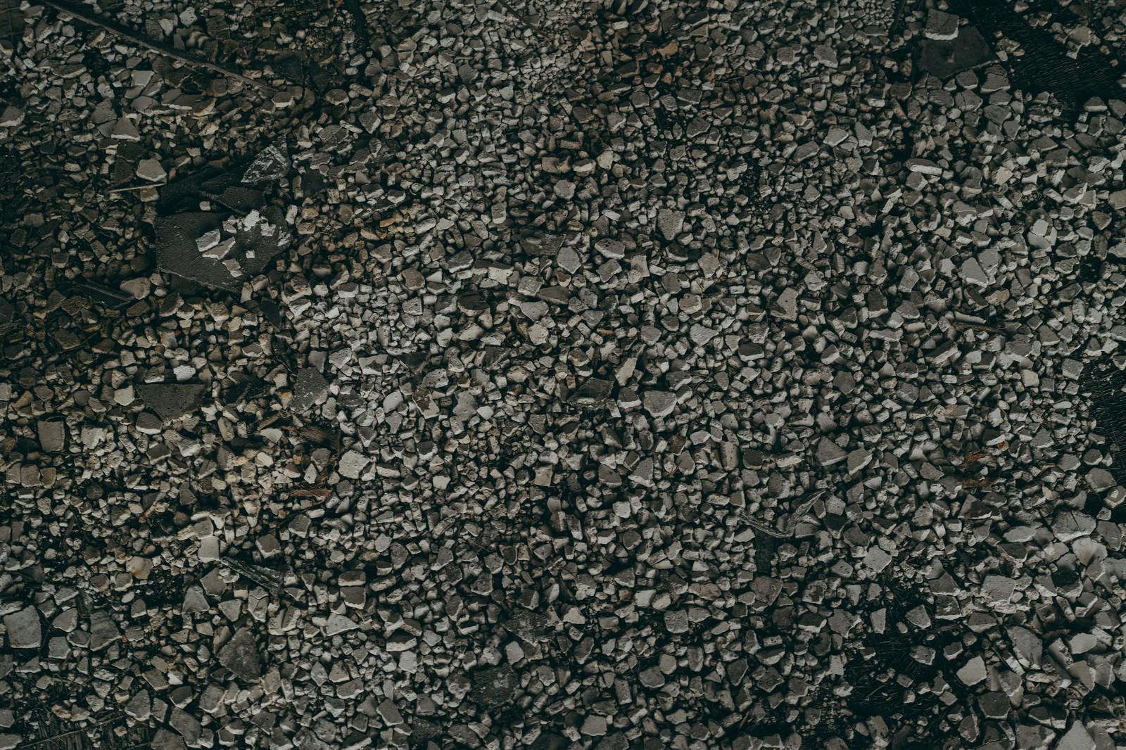 「敷き詰められた灰色の砂利(テクスチャ)」の写真