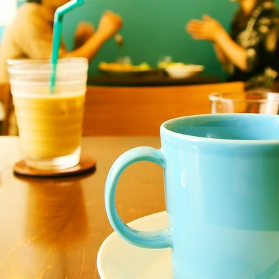 「カフェにて一休み」の写真素材