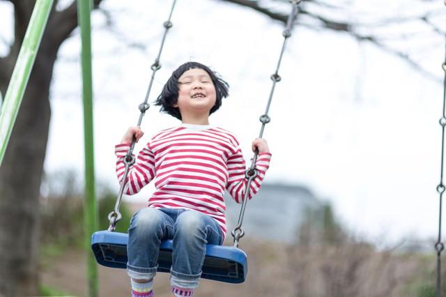 公園のブランコではしゃぐ子供の写真