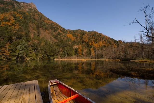 晩秋の上高地・明神池の写真