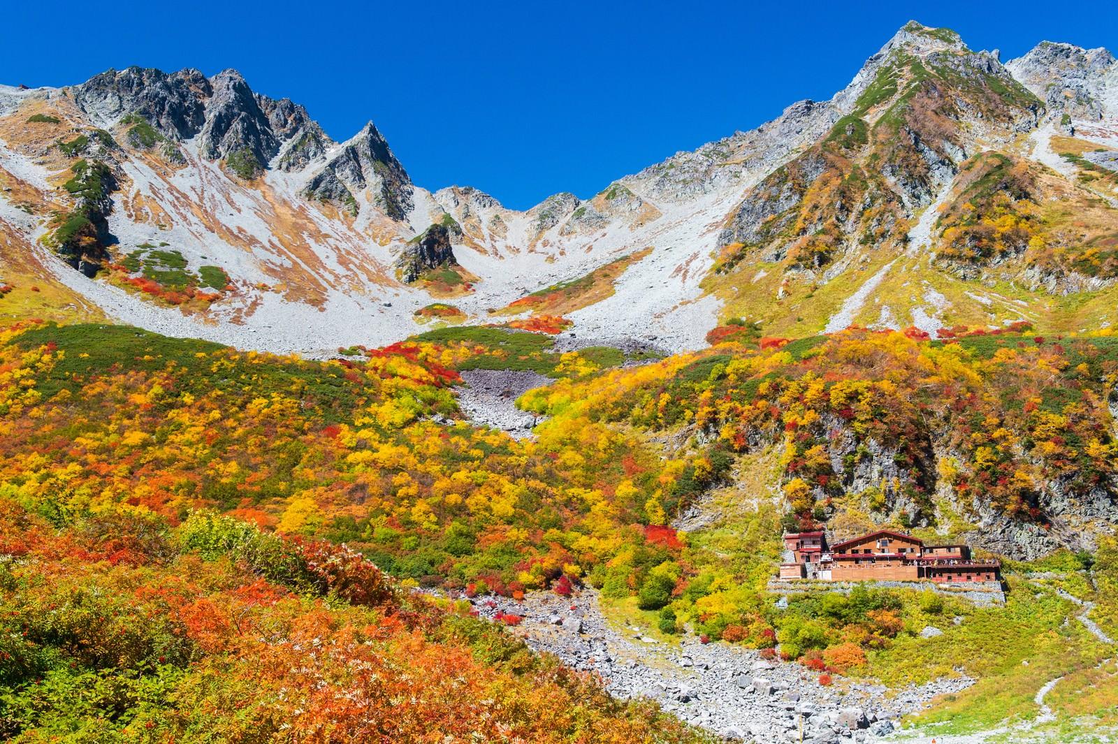 「涸沢ヒュッテから見る涸沢カールの紅葉最盛期」の写真