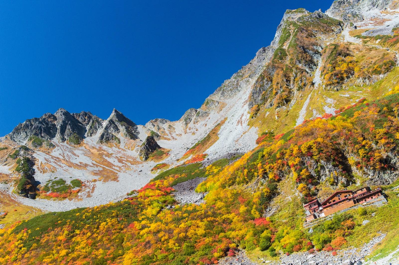 「涸沢小屋の後ろのそびえ立つ涸沢岳」の写真