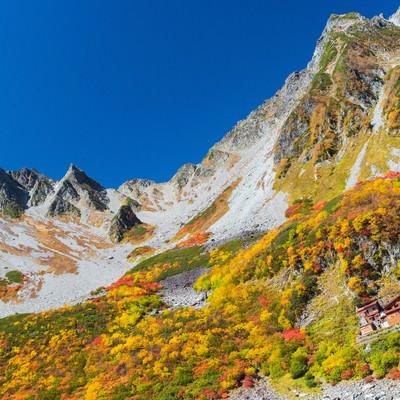 「涸沢小屋の後ろのそびえ立つ涸沢岳」の写真素材
